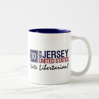 Vote Libertarian in 2010 – Vintage New Jersey Two-Tone Coffee Mug