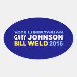 Vote Libertarian Johnson-Weld 2016 Oval Sticker