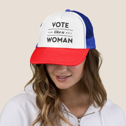 Vote Like a Woman Trucker Hat in Blue and Red