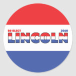 Vote Lincoln 2010 Elections Red White and Blue Classic Round Sticker