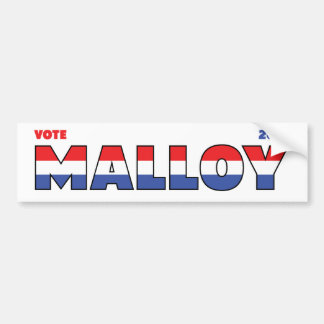 Vote Malloy 2010 Elections Red White and Blue Car Bumper Sticker