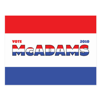Vote McAdams 2010 Elections Red White and Blue Postcard