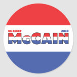 Vote McCain 2010 Elections Red White and Blue Round Sticker