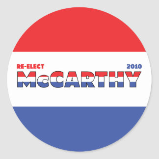 Vote McCarthy 2010 Elections Red White and Blue Classic Round Sticker