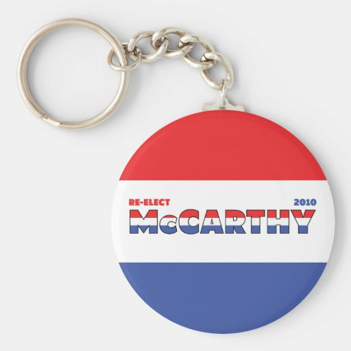 Vote McCarthy 2010 Elections Red White and Blue Basic Round Button Keychain