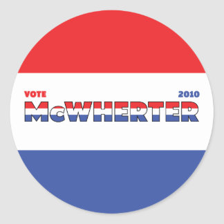 Vote McWherter 2010 Elections Red White and Blue Classic Round Sticker