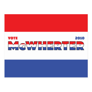 Vote McWherter 2010 Elections Red White and Blue Postcard
