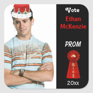 Vote me for Prom King (Red) Square Sticker