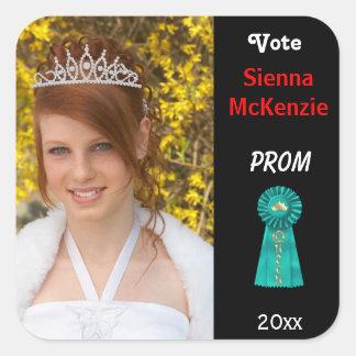 Vote me for Prom Queen (Aqua) Square Sticker