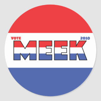 Vote Meek 2010 Elections Red White and Blue Classic Round Sticker