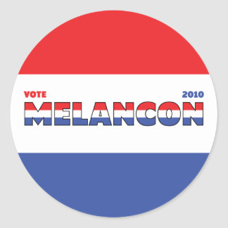 Vote Melancon 2010 Elections Red White and Blue Classic Round Sticker