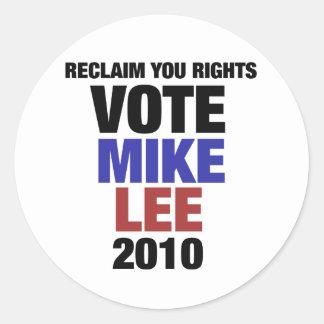 Vote Mike Lee 2010 Classic Round Sticker