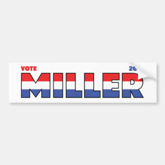 Vote Miller 2010 Elections Red White and Blue Bumper Sticker