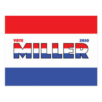 Vote Miller 2010 Elections Red White and Blue Postcard