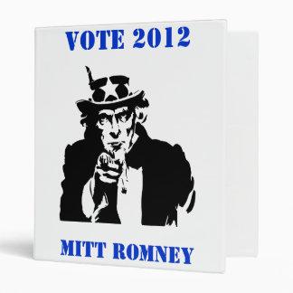 VOTE MITT ROMNEY 2012 3 RING BINDER