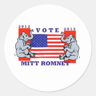 VOTE MITT ROMNEY 2012 CLASSIC ROUND STICKER