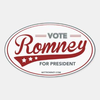 Vote Mitt Romney For President Swoosh (Red Oval) Oval Sticker