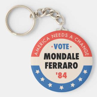 Vote Mondale/Ferraro '84 Basic Round Button Keychain
