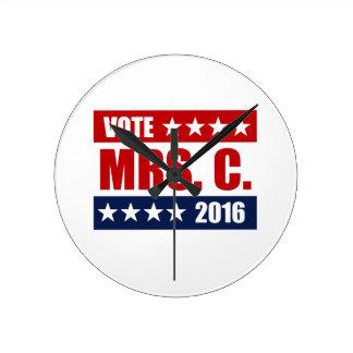 VOTE MRS. C. 2016 ROUND WALL CLOCKS
