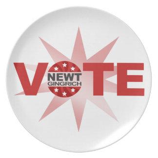 VOTE Newt Gingrich 2012 Dinner Plate