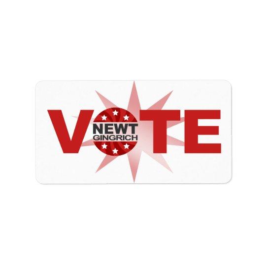 VOTE Newt Gingrich 2012 Label