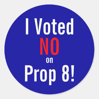 ¡Voté NO en el apoyo 8! Pegatina Redonda