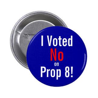 ¡Voté, no, encendido, el apoyo 8! Pins