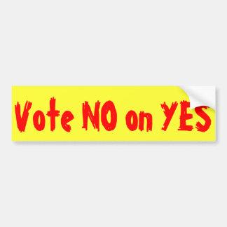 Vote NO encendido SÍ - a la pegatina para el parac Etiqueta De Parachoque