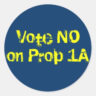 Vote NO on Prop 1A Round Sticker