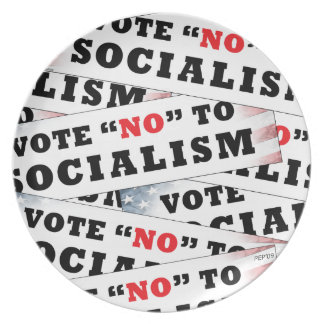 Vote No To Socialism Melamine Plate