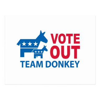 Vote Out Team Donkey Postcard