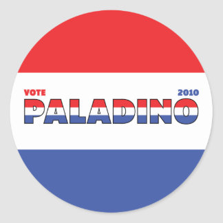 Vote Paladino 2010 Elections Red White and Blue Classic Round Sticker