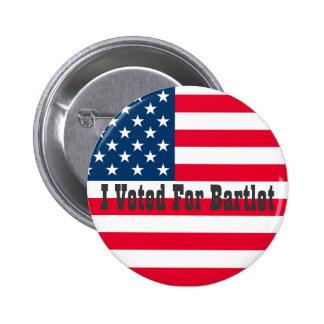 Voté por Bartlet - el ala del oeste Pin Redondo De 2 Pulgadas