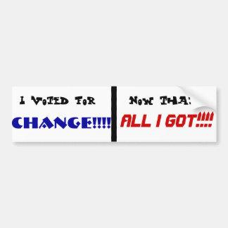 ¡Voté por CAMBIO! Pegatina Para Auto
