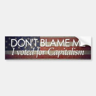Voté por capitalismo pegatina de parachoque