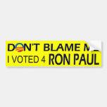 Voté por el bumpersticker de Ron Paul Etiqueta De Parachoque