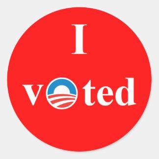 Voté por el pegatina de Obama