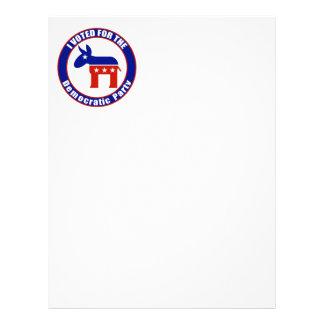Voté por fiesta Democratic Membrete A Diseño