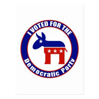 Voté por fiesta Democratic Tarjetas Postales