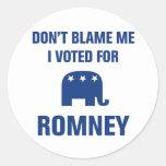 Voté por Romney Etiquetas Redondas
