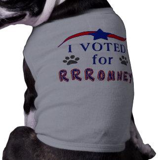Voté por ropa del perrito de ROMNEY Playera Sin Mangas Para Perro