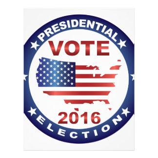 Vote President Election 2016 Round Button Letterhead