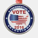 Vote President Election 2016 Round Button Metal Ornament
