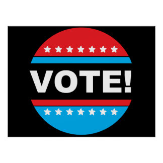 VOTE! Red & Blue Circle with Stars Poster