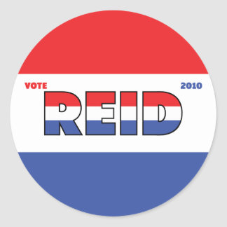Vote Reid 2010 Elections Red White and Blue Classic Round Sticker