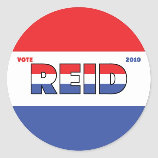 Vote Reid 2010 Elections Red White and Blue Round Stickers