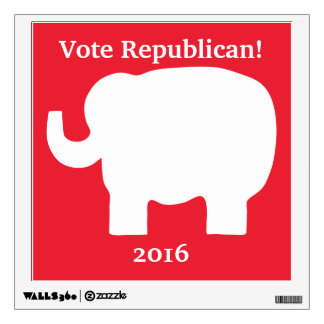 Vote Republican 2016 Elephant Red White Custom Wall Decal