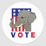 VOTE REPUBLICAN ELEPHANT ROUND STICKERS