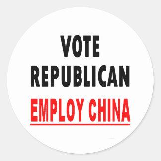 Vote Republican Employ China Round Stickers