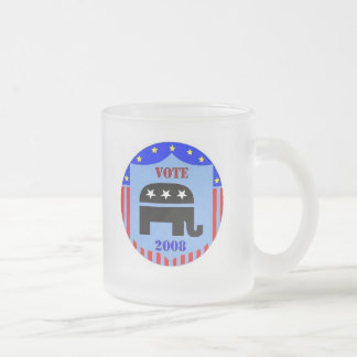 VOTE REPUBLICAN IN 2008 FROSTED COFFEE MUG CUP